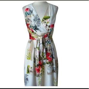 WHBM, watercolor wrap dress, size 10